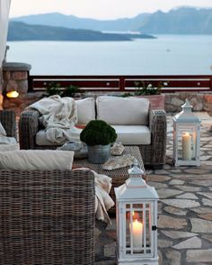 Beautiful back patio overlooking the sea with lanterns f544bac921dc