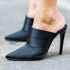 Black Mules Shoes, Black Stiletto Heels, Pumps Heels, High Heels Mules, Black Flats, Office Heels, Zapatos Shoes, Converse Shoes, Shoes Sandals