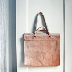 Vintage Suede Ombre Wood Carrier Tote