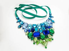 Ombre Statement Bib Necklace, Blue and Green Rhinestone Statement Necklace, Sparkling Jeweled Bib Necklace, Variegating Jewelry