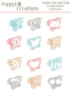 INSTANT DOWNLOAD - Shabby Chic Paint Chip Social Media and Website Icon Graphics - For Blogs and Websites -  For Commercial or Personal Use