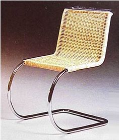 chair, occasional in rattan and bent tubular design, 1927, Mies van der Rohe