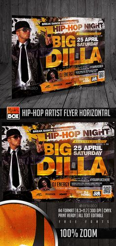 HipHop Artist Flyer Horizontal — Photoshop PSD #money #music • Available here → https://graphicriver.net/item/hiphop-artist-flyer-horizontal/15481986?ref=pxcr