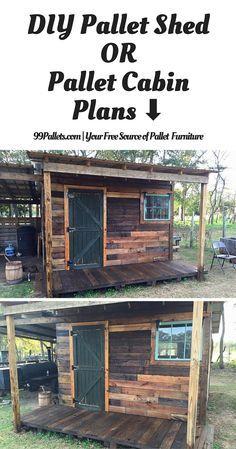 DIY Pallet Shed – Pallet Outdoor Cabin Plans - 99 Pallets