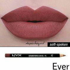 NYX Lip Bundle NYX Liquid Suede- Soft-Spoken NYX Slim Lip Pencil- Ever NYX Makeup Lipstick