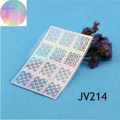 $1.59 12 Tips/Sheet Nail Vinyls Flowers Nail Art Stencils Holo Nail Stickers JV214 - BornPrettyStore.com