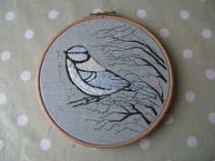 Winter Blue Tit Embroidery, by Handmade and Heritage
