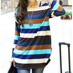 Color Block Long Sleeve Striped Cotton Blend Loose Casual Women's T-shirt, COLORMIX, ONE SIZE in Long Sleeves | DressLily.com
