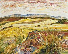 Benjamín Palencia (Spanish, Campos de mies [Harvest fields], Oil on canvas, 65 x 81 cm. Spanish Painters, Fauvism, Hirst, Klimt, Monet, Van Gogh, Layout Design, Oil On Canvas, Auction