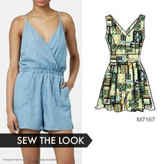 Sew the Look: You can get the relaxed-chic look of the RTW romper on the left. Sew McCall's M7167 jumpsuit/romper sewing pattern in lightweight denim.