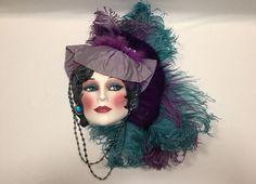 Clay Art of San Francisco Ceramic Face Wall Mask Purple Turquoise Beading  #ClayArt