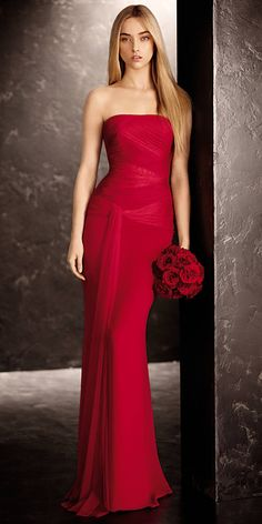 CRINKLE CHIFFON COLUMN GOWN Gown with a draped bobbin net bodice, and flowing sash; $99 to $178 at davidsbridal.com.