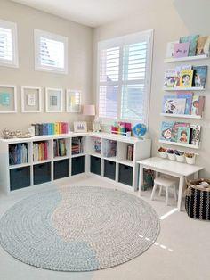 boys playroom ideas older ; boys playroom ideas on a budget ; Playroom Storage, Playroom Design, Playroom Decor, Kids Room Design, Playroom Ideas, Gray Playroom, Ikea Toy Storage, Small Playroom, Nursery Room