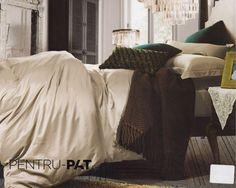Lenjerie de pat 100% bambus Pucioasa gri inchis Bean Bag Chair, Comforters, Blanket, Bed, Furniture, Home Decor, Homemade Home Decor, Stream Bed, Home Furnishings