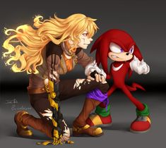 """Yang and Knuckles. I remember that when I started this series of pictures I was all like: """"I'm going to do them all in the same style!!"""" ..... WHELP That didn't last long! Anywho! Hope you enjoy! Coments/..."""