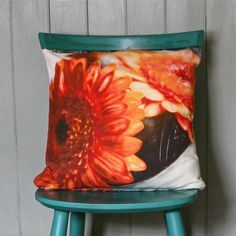 Orange Gerbera Cushion - rhiannon connelly