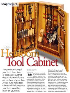 Wall Tool Cabinet Plans - Workshop Solutions