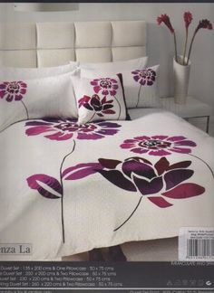 White and Purple Embroidered Double duvet cover set