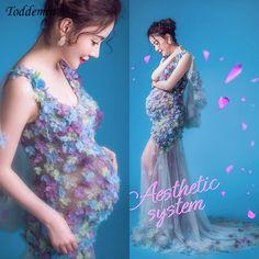 Sessão de Fotos de maternidade Vestido Longo Flor Vestido de Renda Transparente Vestidos Gravidez Roupas Para Grávidas Maternidade Fotografia Props