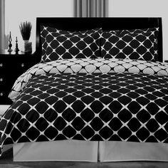 modern geometric black white cotton duvet cover set