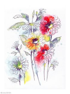 Watercolor painting bright floral print set of 2 flower