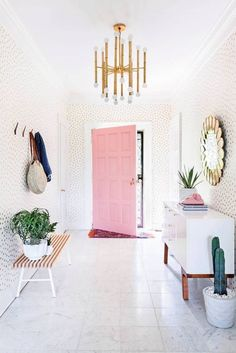 an inspiring, blush + gold entryway.