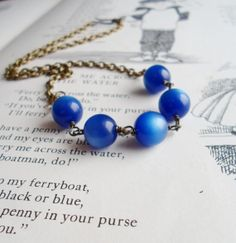 Vintage Blue Moonglow Bead and Brass Necklace Blue by puffluna, $18.00