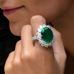 Feeling like a Green Goddess. Are you jealous, ennviable jewels, pure wow, emerald city. Sutra Jewelers Gorgeous Emerald and Diamond Ring, At Cellini Jewelers.