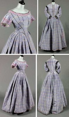 Lilac tartan moiré taffeta gown with day and evening bodices, ca. 1860. Day bodice button-fronted with black braid bands to shoulders and cuffs, cut low and pointed to the front and high at the back; curved sleeves. Evening bodice with pronounced point to waist, puff sleeves, silk lace to the neck. Full, pleated skirt. Kerry Taylor Auctions/Artfact