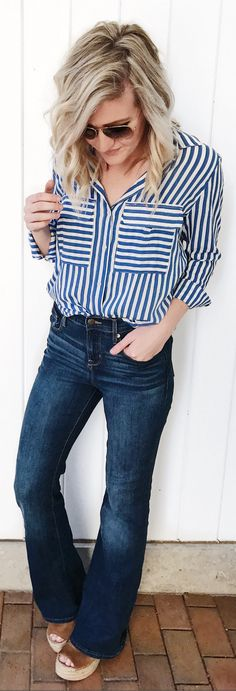 Bleu & White Striped Shirt / Navy Wide Denim / Brown Platform Wedge