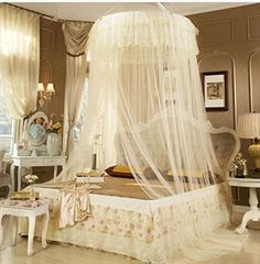 FamilyShop Antique Style Princess Bed Canopy Mosquito Net Netting NEW Bedroom Mesh Curtains (Beige) * Find out more about the great product at the image link.