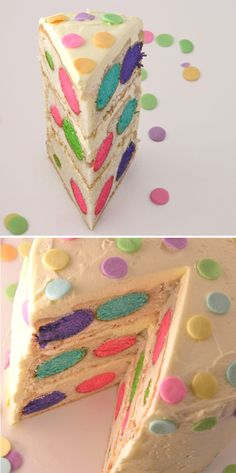 Colorful Polka Dotted Cake Recipe. Find out how to make this, Devonie would love it for her birthday!