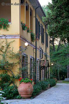 Tuscan Villa - Vines, corner potted plants, and flower beds everywhere.