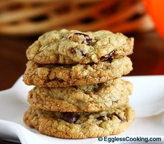 Peanut Butter Chocolate Chip Cookies withOUT eggs. Ener-g egg replacer, sub in sunbutter.
