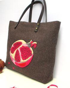 Feminine  Tweed  Artful  tote handbagHandmade hand by Apopsis