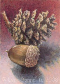 Acorn & Pine Cone by Lynn Bonnette