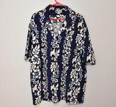 Aloha Republic Hawaiian Style Short Sleeve Shirt 100% Cotton Blue White Men's XL #AlohaRepublic #Hawaiian