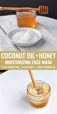DIY coconut oil and honey face maskCoconut oil and honey both have moisturizing, antimicrobial and regenerative properties, which makes this DIY face mask incredibly skin-care! about Noelle DIY honey face masksThree simple, homemade face Homemade Face Masks, Homemade Skin Care, Diy Skin Care, Homemade Beauty, Face Scrub Homemade, Homemade Facials, Mask For Dry Skin, Oils For Skin, Dry Skin On Face