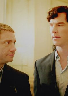 Watson and Sherlock - Masterpiece version with Benedict Cumberbatch and Martin Freeman.  They are so good at portraying Watson and Sherlock in a modern era.  Seriously, just this look between the two of them is wonderful.