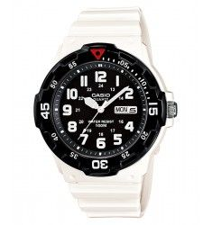 4027795f1070 Casio Unisex Dive Style Watch with White Glossy Strap