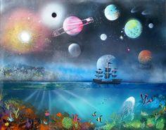 "Spray Paint Art, Ocean and Space, Spacescape, Underwater Art, Ocean Art, Space Art, Tropical Art, Origional 22"" x 28"", Pirate Ship Art"