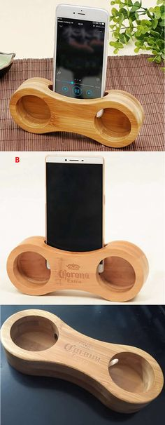 Bamboo  iPhone Speaker Sound Amplifier iPhone SmartPhone  Station Stand  Dock Mount Holder