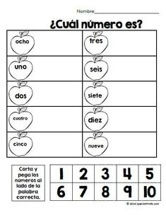 September or back to school math sheets in Spanish for first graders. counting, sequencing, cut and paste, number recognition, etc. Hojas de matematicas para primer grado.
