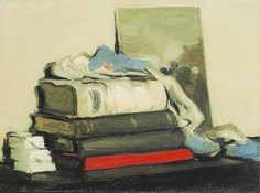 S.J. Peploe  Still Life with Books  Early 20th century. Long, thin brush strokes create a realistic texture for the books' covers and pages. Very neutral colours with a pop of red and blue. Contains A lot of curved shapes and lines with strong tonal features.