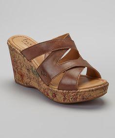 Look at this #zulilyfind! Brown Zazu Leather Wedge Sandal by b.o.c #zulilyfinds
