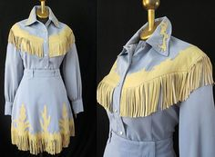Fun 1950s' Style cowgirl robins egg blue skirt and by wearitagain, $298.00