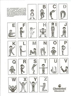 * Body spelling, kinesthetic, use body to learn alphabet, sight words Physical Activities For Kids, Gross Motor Activities, Physical Education Games, Kids Education, Preschool Activities, Movement Activities, Kids Yoga Poses, Yoga For Kids, Exercise For Kids