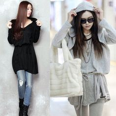 Discount China china wholesale Korean Style Autumn Ladies Casual Personalized Hooded Drawstring Dress Tops [31461] - US$17.99 : Bluelans