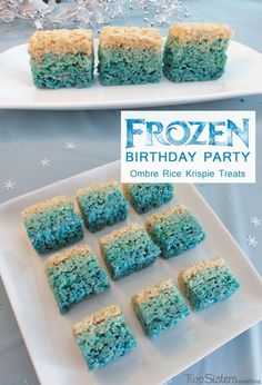 Disney Frozen Ombre Rice Krispie Treats - we made these beautiful Ombre Rice Krispie Treats for our Disney  Frozen Birthday Party.  They were a big hit and would be pretty in any color combination or for any special occasion or party. For more amazing Frozen Party Ideas follow us at http://www.pinterest.com/2SistersCraft/