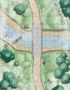 Deciduous forest Road n, s, bridge river e, w, Random Encounter Battle Maps - Album on Imgur